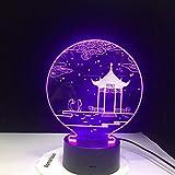 Ancient Pavilion 3D Lampe Tischlampe 7 Farben Ersatz Tischlampe 3D Lampe Neuheit führte Nachtlicht Pavillon Parlament 4 Regler