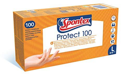 SPONTEX - Protect x100 - Boîte de 100 Gants Fins Jetables Hypoallergéniques en Vinyle - Sans latex - 1 boîte de 100 gants - Taille L
