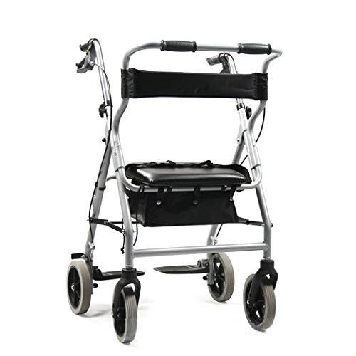 Klapprollator Walking Frame, Cane Holder und Locking-Bremsen, Ultra Leichtgewicht-Rollator-Walking-Rahmen, mit Sitz und Tasche, Convenient Lagerung