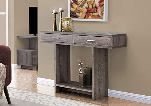 "Monarch Specialties Console Sofa Table 2 Drawers & Shelf Rectangular Hallway Entryway Accent, 48"" L, Dark Taupe"