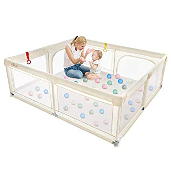 Baby Playpen OUNUO Extra Large Playpen Play Yard for Babies Sturdy Safety Baby Fence Play Area with Gate Anti-Fall Play Pens Playard for Babies Toddlers Infants Indoor Outdoor Kids Activity Center