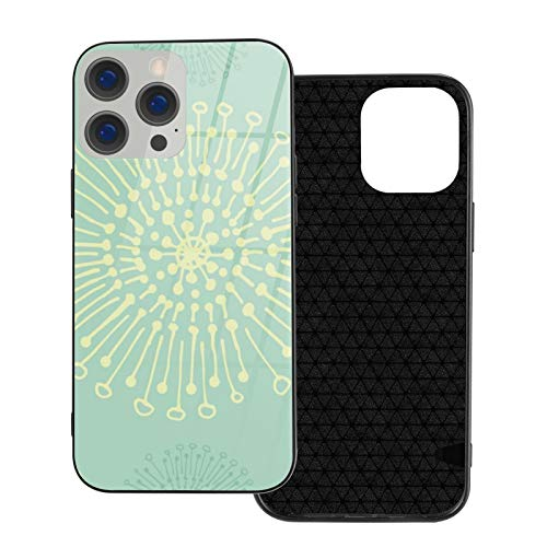Compatible con iPhone 12 Pro Max, carcasa resistente de cuerpo completo, funda de vidrio TPU suave para iPhone 12 Pro Max 6.7 pulgadas, dientes de león mantequilla menta