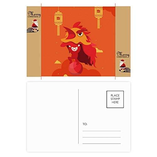 Rote Laterne Löwen Tanz China Town Santa Claus Geschenk Postkarte Dankeskarte Postkarte Postkarte