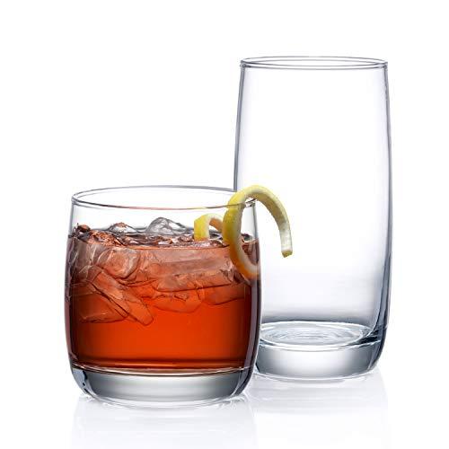 Set mit 16 Trinkgläsern, schwere Basis, langlebige Glasbecher – 8 Highball-Gläser (480 ml) und 8 Rocks-Gläser (497 ml), 16-teiliges Glaswaren-Set