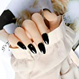 MISUD Stiletto Fake Nails Pure Black Glossy Press-on Full Cover False Nails Natural Long Claw Artificial Nails Art Tips for Women and Girls