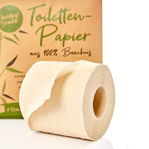 bambuswald© nachhaltiges Toilettenpapier aus 100% Bambus | 8x Rollen á 200 Blatt - 3 lagig sanft trocken & angenehm weich | holzfreies Klopapier in plastikfreier Verpackung | WC-Papier Toilet Paper - 2