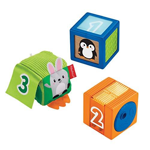 Fisher-Price GJW13 - baby's kleurrijke dierenbouwstenen, 3 kleurrijke speelgoed voor baby's vanaf 6 maanden