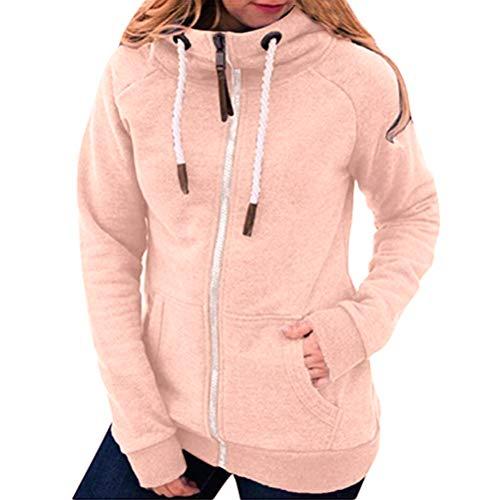 Onsoyours Damen Kapuzenpullover Winter Langarm Hoodie Jacke Sweatjacke Sweatshirt Oberteile Damen Pullover Kapuzenpullover Pulli mit Reissverschluss Z1 Rosa XL