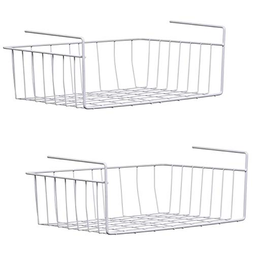 MUQU Set of 2 x Large Under Shelf Table Storage Baskets - 42cm - Rack Kitchen Wire Mesh Cabinet Cupboard Desk Organiser, Metal