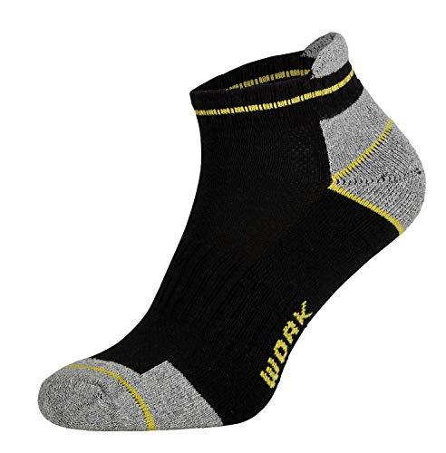 Tobeni 6 Paar Herren Arbeits- und Freizeit Sneaker Socken TAB Sneakers - Füsslinge mit verstärkter Ferse und Spitze Farbe Schwarz Grösse 43-46