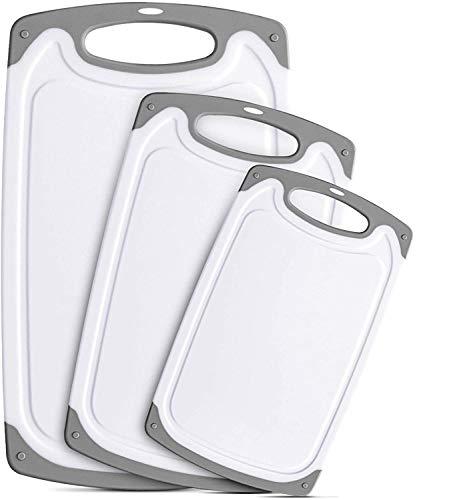 Thstheaven Juego de 3 tablas de cortar de plástico, sin BPA, con ranuras para jugos y mango de fácil agarre, apto para lavavajillas