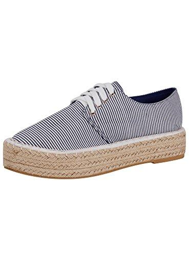 oodji Collection Mujer Zapatillas de Algodón de Suela Trenzada, Azul, 38 EU / 5 UK