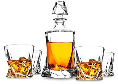 LANFULA Whisky Gläsern und Karaffe Set, 800 ml Dekanter mit 4 Bleifrei Kristall Gläser 300 ml. Geschenk für Whiskey Liebhaber, 5-teiliges