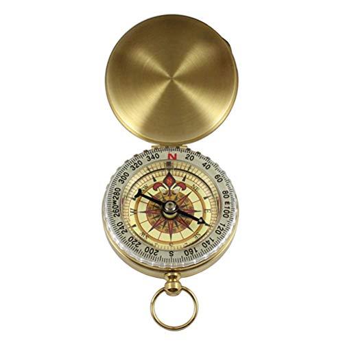 Xbai Camping Senderismo Pocket Brass Golden Compass Compass Navigation for Actividades al Aire Libre...