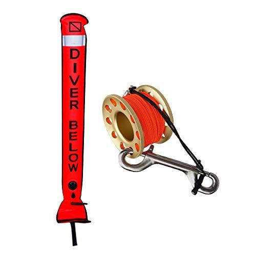 F Fityle Juego de Equipo de Buceo, Tubo de Boya de Marcador de Superficie de Cinta Reflectante con Carrete con Cuerda Doble Clip Pequeño y Portátil - Dorado