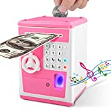 Lefree ATM Savings Bank,Money Bank with Electronic Auto Scroll Paper Cash,Simulate Fingerprint ATM Piggy Bank for Real Money,Alarm Clock and Broadcast Time's Money Safe for Kids(Pink