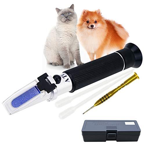 Tragbar Klinisch Refraktometer mit ATC zum Urin Spezifisch Schwere RI Messung von Haustier Hund Katze 1.000-1.060RI und Blut Serum Eiweiß 2-14g/dl, Frei Pipetten