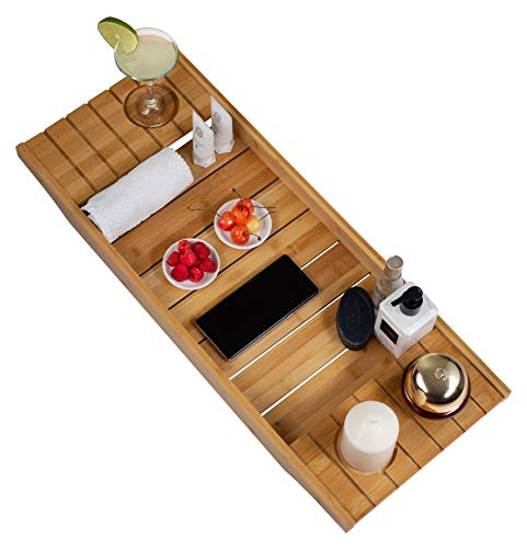 Bathtub Caddy Tray Crafted Rustic Wooden Bath Caddy for Wine Holder, Shampoo, Razors, Towel, Candle 28 Inch / 70 CM By STYLE Rustic Wood (Natural)