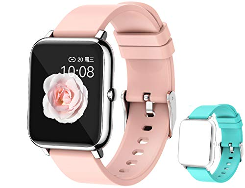 """feifuns Smart Watch,1.4"""" LCD Full Touch Screen Fitness Tracker with Heart Rate/Blood Pressure/Blood Oxygen Monitor Pedometer Sleep Tracker Waterproof Activity Tracker for Men/Women/Gift (Pink+Band)"""