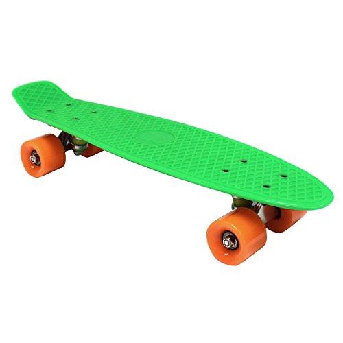 Charles Bentley Kinder Retro Mini-Skateboard 56 cm - Kunststoff - Grün mit orangefarbigen Rädern