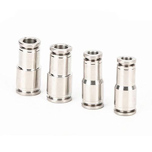 TLBBJ Partes neumáticas Acero Inoxidable 304 6-4mm 8-6mm 10-8mm 12-10mm 14-12mm 16-12mm Tubo neumático Tamaños Reductor Union Quick Conector Recto Fuerte (Color : 6mm 4mm)