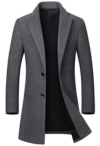 chouyatou Men's Mid-Length Single Breasted Wool Blend Top Coat (X-Large, Light Grey)