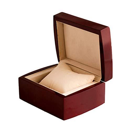 TOPBATHY Holz Uhrenbox Vintage Uhr Display Aufbewahrungskoffer Brust Schmuck Armband Veranstalter mit Weichen Kissen für Frauen Männer Geschenk (Rot)