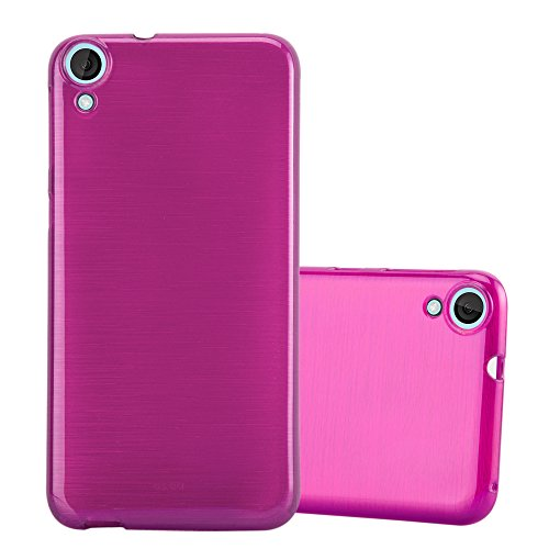 Cadorabo Hülle für HTC Desire 820 - Hülle in PINK – Handyhülle aus TPU Silikon in gebürsteter Edelstahloptik (Brushed) Silikonhülle Schutzhülle Soft Back Cover Case Bumper