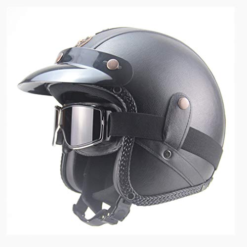 Leoboone Motorcycle German Halber Integralhelm Chopper 3/4 Lederhelm Scooter Halber Integralhelm Skull Cap Hat Chopper Mit WindGlass