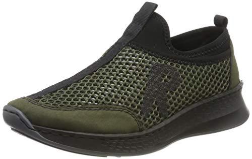 Rieker Damen N5662-54 Sneaker, Grün (Forest/Pesto/Altsilber/Schwarz 54), 40 EU
