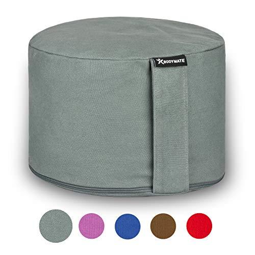 BODYMATE Extra-Hohes Yogakissen rund 31cm Durchmesser 20cm hoch Cool-Grey mit Buchweizen-Spelz Füllung – Maschinenwaschbarer Bezug aus 100{aea80793261a92bbc1b9e9ec7e90872613118b865ccaa5567299dcedcdd1e59f} extra Dicker Baumwolle – Meditationskissen – Sitzkissen