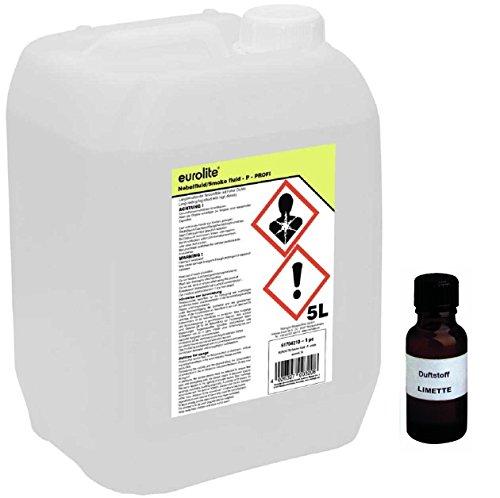 5 Liter Eurolite P (Profi) Nebelfluid + 30 ml Duftstoff Limette-Zitrone, Smoke-Fluid, Nebel-Fluid-Flüssigkeit für Nebelmaschine (5 L Fluid -P- + Duft Limette-Zitrone)