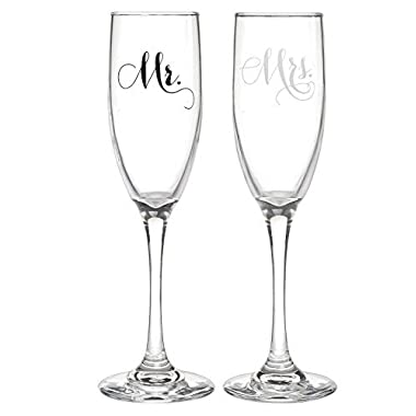 Mr. and Mrs. Wedding Champagne Flutes -  Elegant Toasting Glasses for Bride and Groom, Set of 2