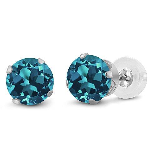 Gem Stone King 10K White Gold London Blue Topaz Stud Earrings For Women (1.50 Ct Gemstone Birthstone Round 6MM)