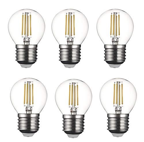 SD LUX E27 ES Lampadine a LED con filamento vintage, G45, senza sfarfallio, attacco Edison a baionetta, 4 W (40W equivalente), 450 lm, luce bianca calda 2700 K, 6 confezioni