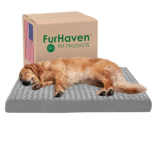 Furhaven Pet Dog Bed - Deluxe Orthopedic Mat Ultra Plush Faux Fur Traditional Foam Mattress Pet Bed with Removable Cover for Dogs and Cats, Gray, Jumbo