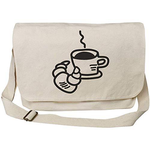 Azeeda 'Kaffee und Croissant' Baumwolle Umhängetasche (MS00009929)