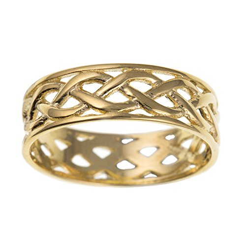 Mens 9ct Yellow Gold Open Celtic Knot Wedding Band Ring - 7MM Wide - Irish Jewellery - Size T
