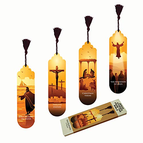 Pictor Gift Decorative 4 Piece Bookmark Set, Metal Pressed with Suede Back (Jesus Stories from The Bible)