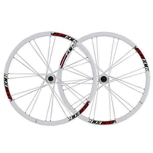 VHHV MTB Juego de Ruedas 26 Pulgadas, Bicicleta de Montaña Pared Doble Llanta Aleación de Aluminio 24H Liberación Rápida para 26' X 1.35~2.125 Neumáticos (Color : White)
