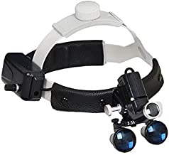 Dental 5W LED Surgical Headlight 3.5X420mm Leather Headband Loupe with Light DY-106 Black by SuperElight