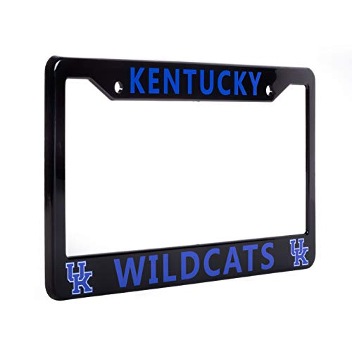 """EliteAuto3K Kentucky Wildcats License Plate Frame Cover – Black – 12.25"""" x 6.25"""" - NCAA Car Accessory - Ideal Gift for Sports Fans & Supporters – Slim Design"""