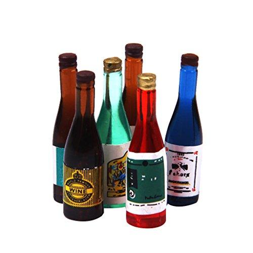 Sharplace Casa de Muñecas Miniatura 6 Piezas Botellas de Vino Cocina Pub Bar Comida Bebida Accesorio