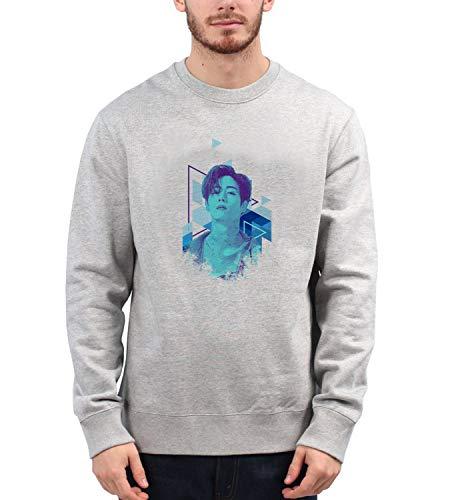 Kpop Mark Singer Got7_MRZ5604 Cuello redondo 100% algodón para hombres y mujeres, suéter de verano, regalo, casual unisex - gris - X-Large