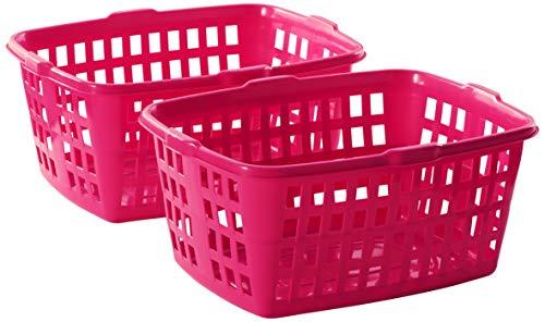 Homz Plastic Laundry Basket 23 x 11 x 178 Bright Rose 2-Pack