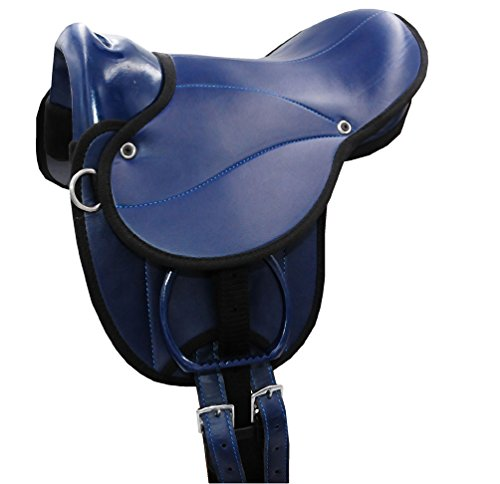 Amesbichler AMKA Pony-Shetty Rijkussen Frisco met handgreep, riem, stijgbeugel en zadelriem zadelset ook geschikt voor houten paarden, donkerblauw 10