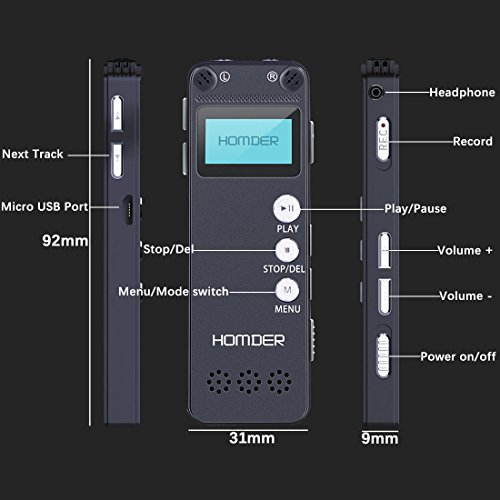 Digital Voice Recorder, Homder 8GB USB Professional Dictaphone Voice Recorder with MP3 Player, Voice Activated Recorder with Rechargeable, Stereo HD Recording Voice Recorder for Lectures-Black