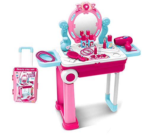 2 in 1 Pretend Play Kids Vanity Table and Chair Beauty Mirror and Accessories Play Set with Trolley Fashion & Makeup Accessories for Girls