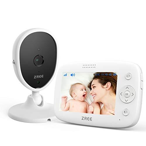 Babyphone mit Kamera, ZREE 4,3 Zoll Video Überwachung Baby Monitor, 3200 mAh Wireless Babyfon mit Gegensprechfunktion, Smart Baby Monitor Video, Strahlungsarm Baby Phone mit Nachtsicht, Schlaflieder