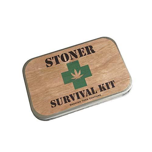 STONER SURVIVAL KIT, stash tin, wood, weed tin, stash box, first aid kit, cigarette case